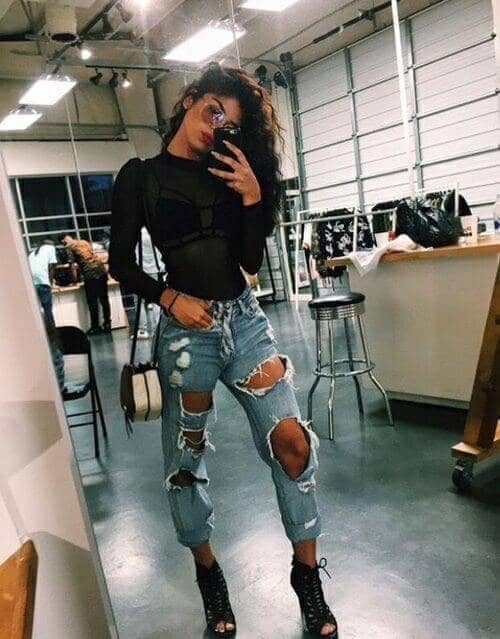 Distressed Jeans With Booties