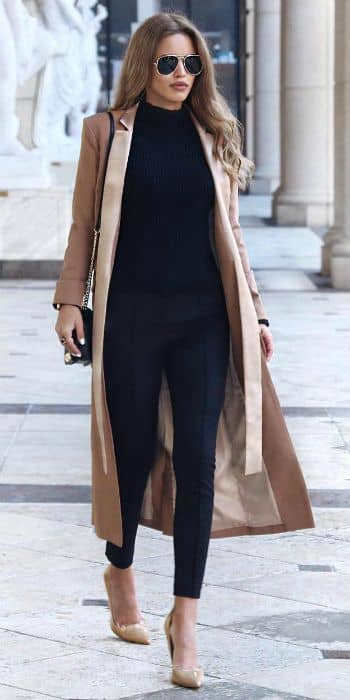 Black Turtleneck in Proper Form with Beige Trench Coat