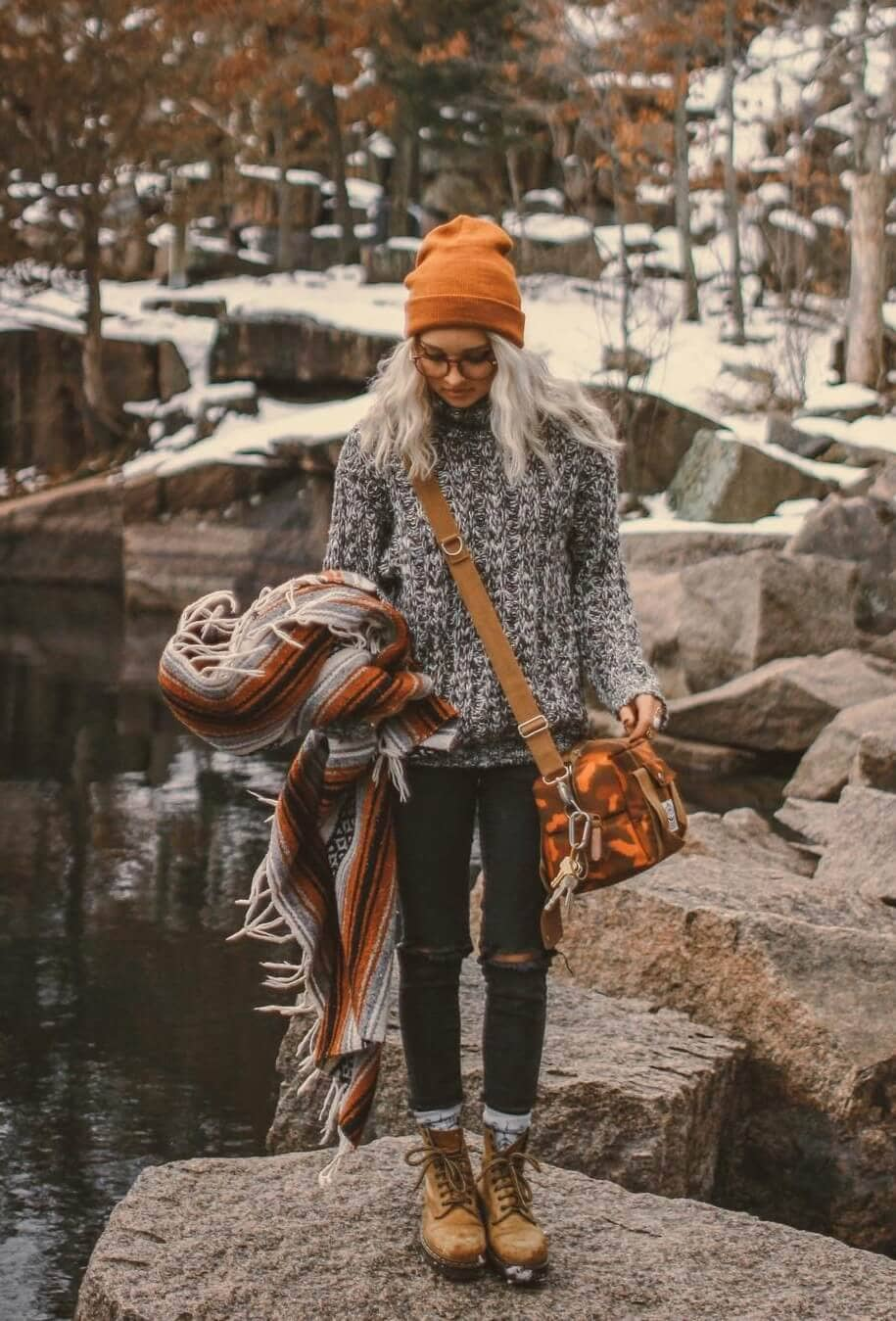 Winter Style With Combat Boots And Pop Of Orange