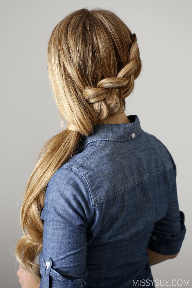 Side Swept Dutch Braid Ponytail