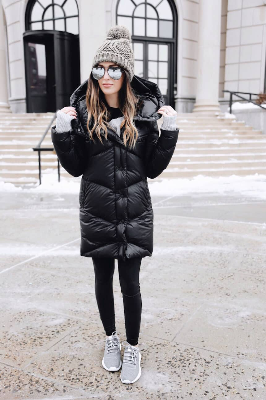 Black Bubble Coat With Leggings And Sneakers