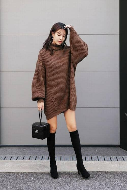 Brown Sweater Dress with Roomy Sleeves