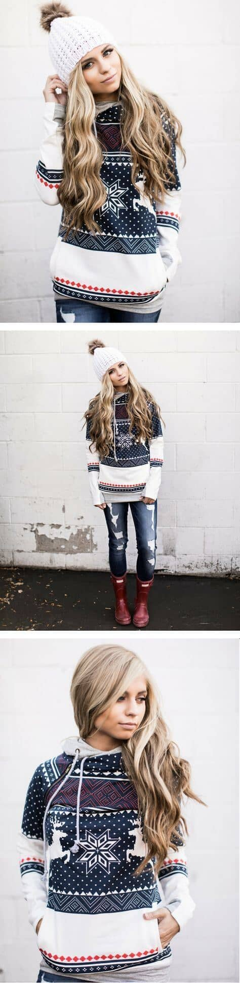 Holiday Inspired Sweater With Distressed Jeans