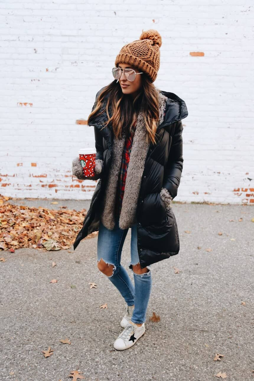Black Bubble Coat Worn With Lax Style