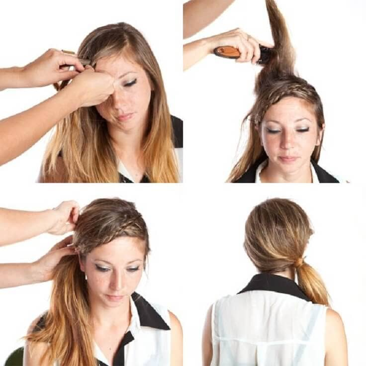 Braided Bangs Side Swept Ponytail
