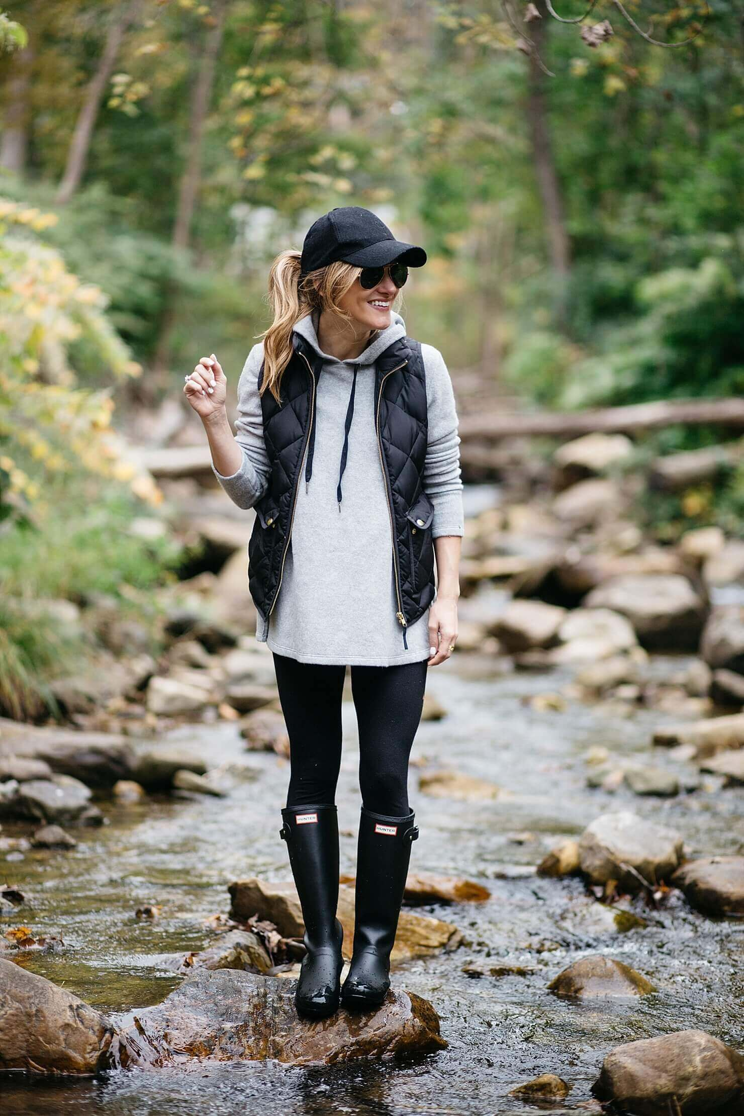 Casual Hoodie With Vest Winter Combo With Rain Boots