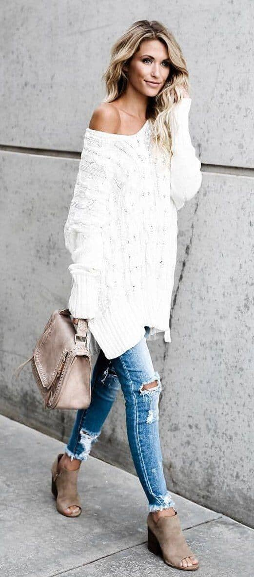 Ripped Jeans And Sweaters In Cream