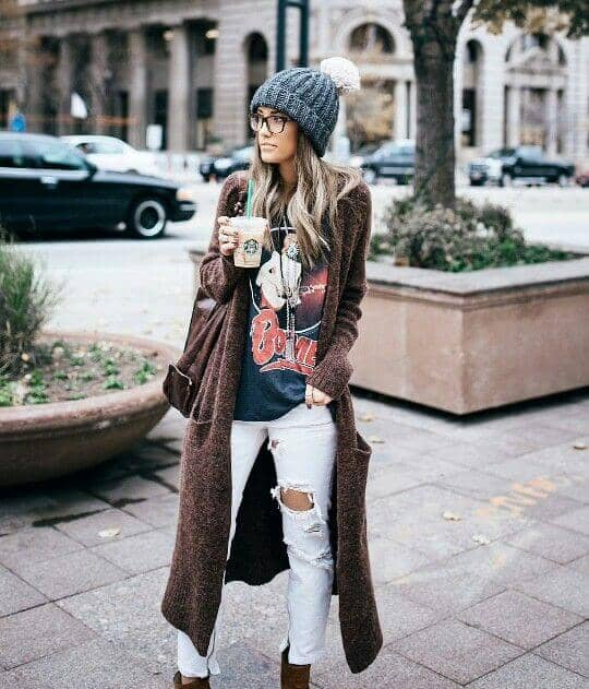 Long Open Styled Cardigan With Distressed Jeans