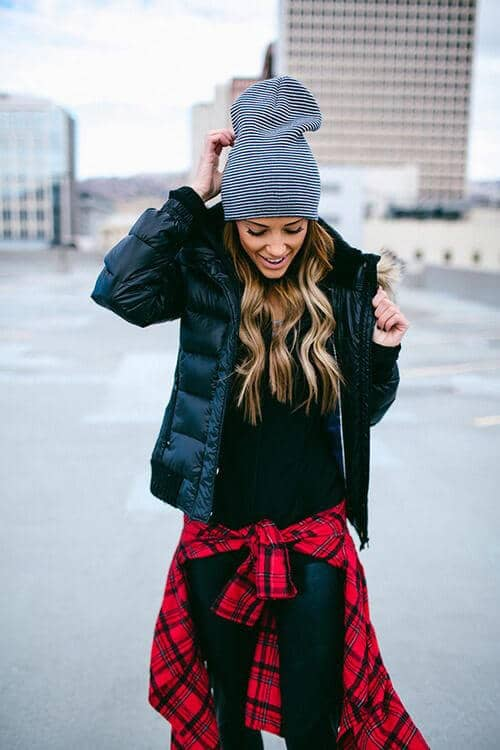 All Black Outfit With Red Flannel Accessorized On Waist