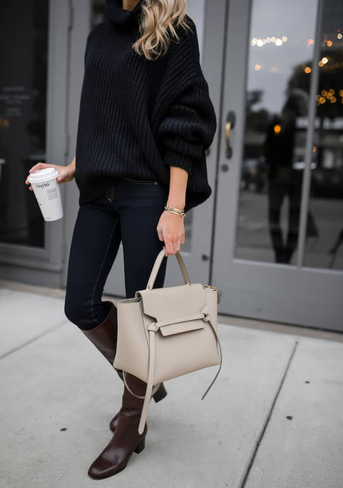 Blousy Black Cable Knit and Dark Denim
