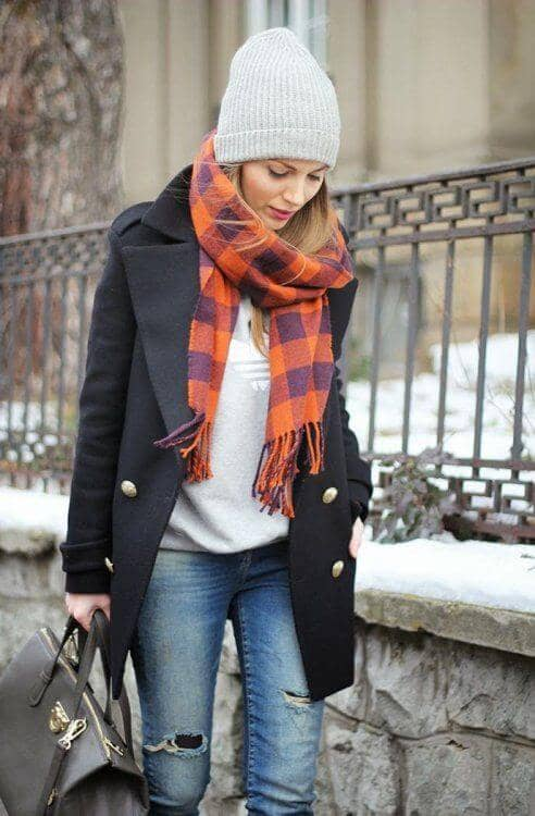 Snug, Colored Scarf With Neutral Toned Pieces And Textured Hat