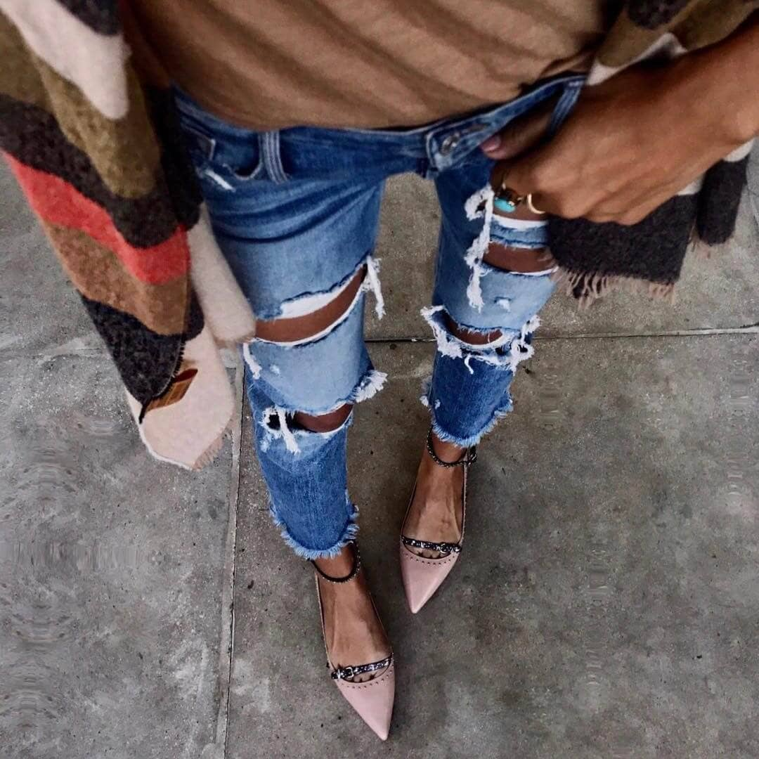 Ripped Denim Paired With Heels