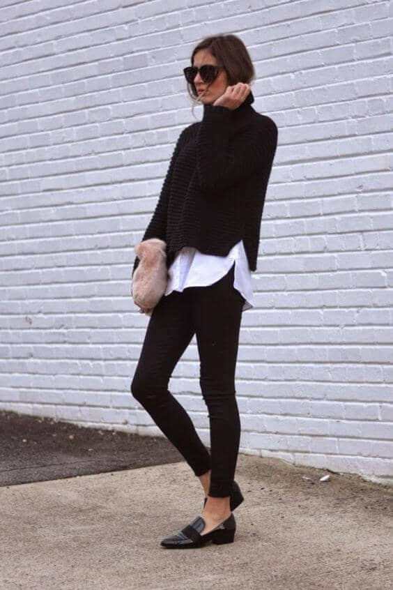 Black Turtleneck and Leggings with White Underlay--Audrey Hepburn Style