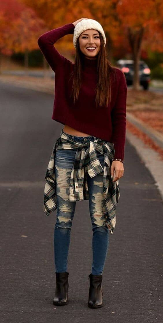 Burgundy Sweater Styled With Distressed Jeans Accessorized With Flannel On Waist