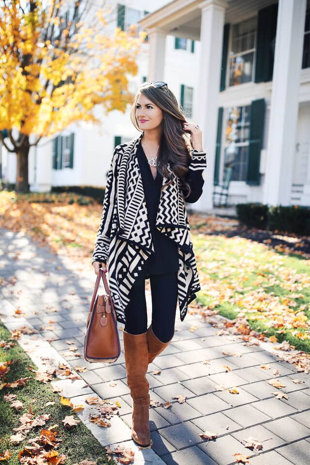 Patterned Cardigan with Brown Boots