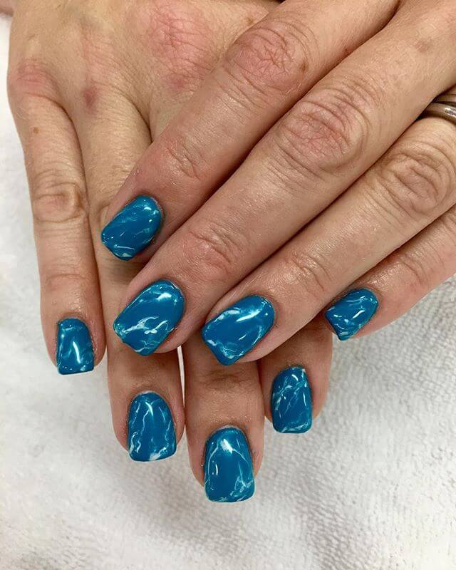 Ice Blue Hue Marble Nails
