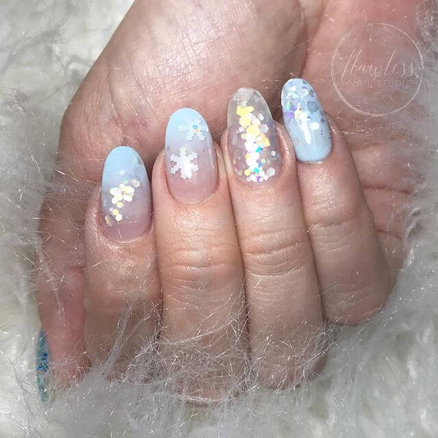 Glitzy Blizzard Glitter Nails