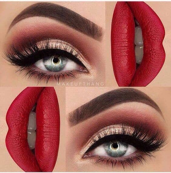 Maroon Smoky Eye With Red Lips