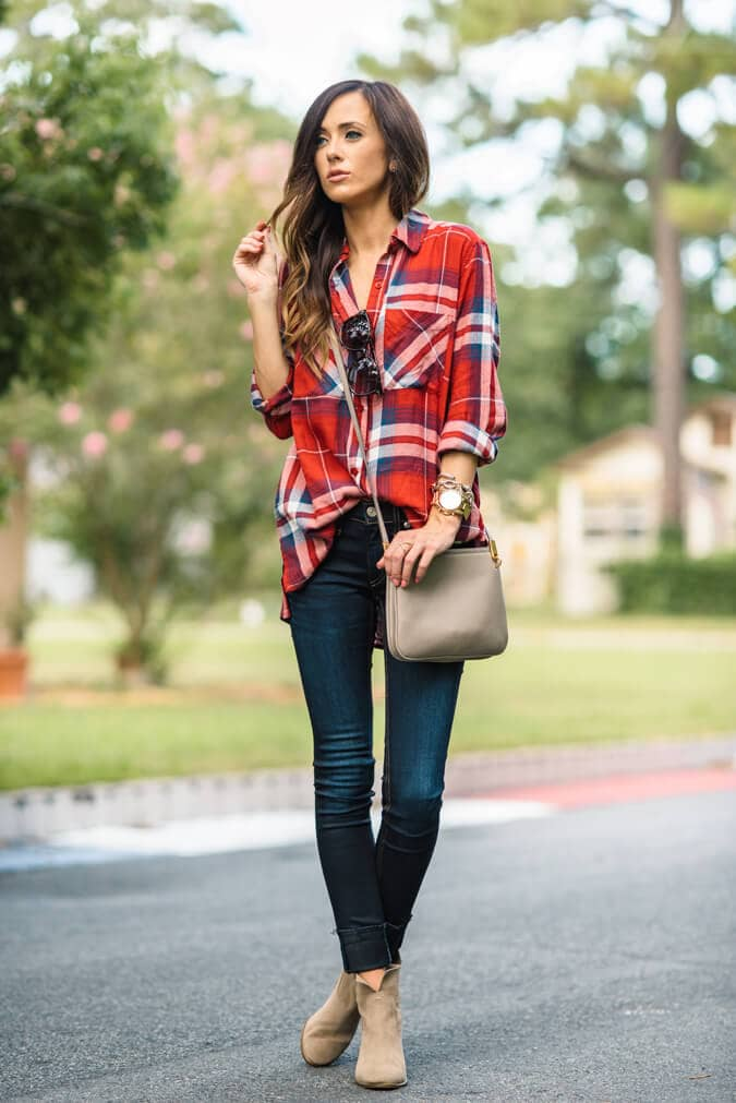 Country Chic Oversized Flannel and Booties