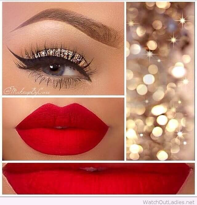 Glitter Shadow, Winged Liner, and Red Lips
