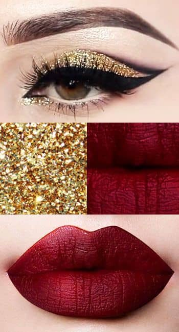 Gold Glitter Eyes and Deep Red Lips