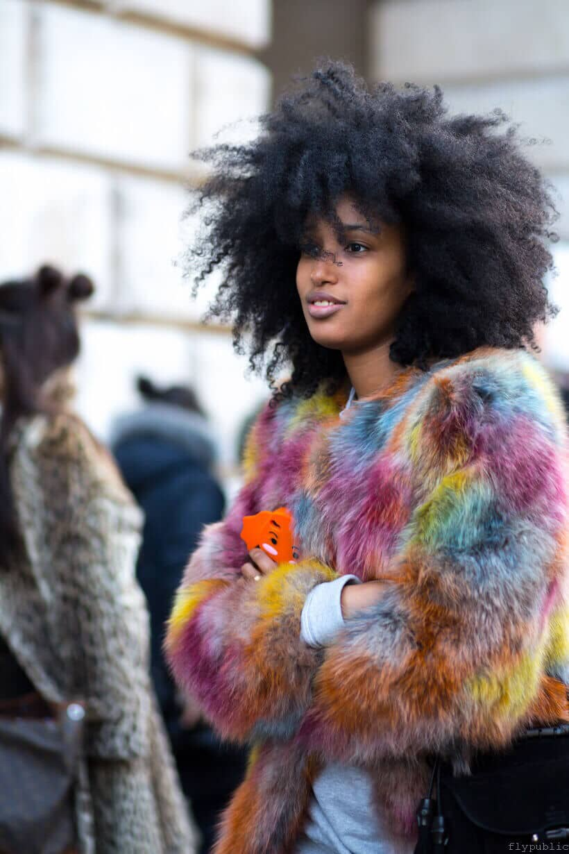 Multicolored Cropped Faux Fur Jacket
