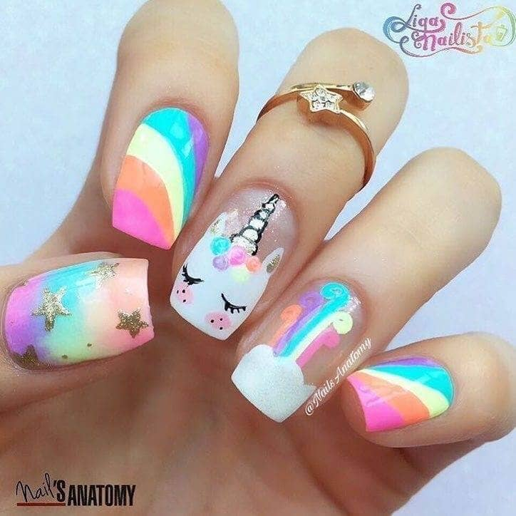 Bright Rainbow And Unicorn Nail Art