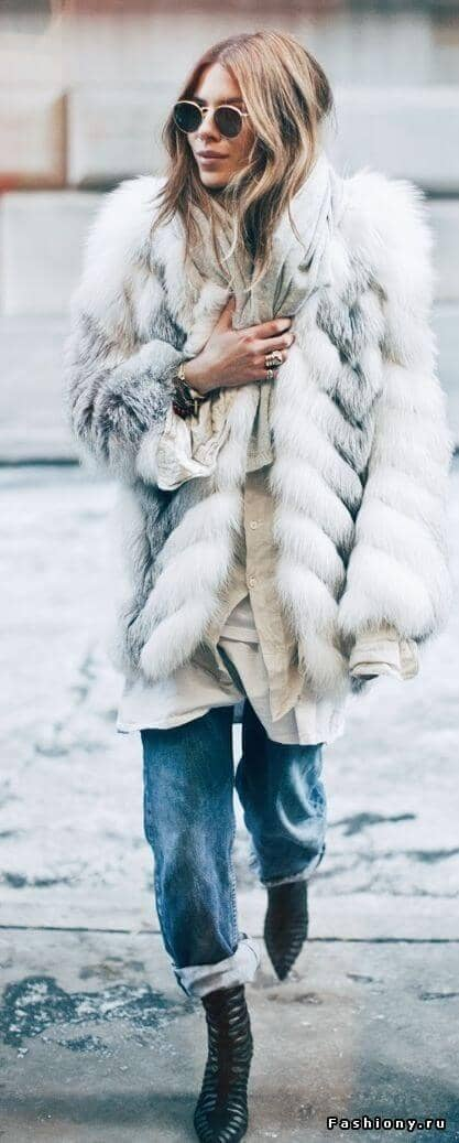 White/gray Chevron Fur With Denim And Booties