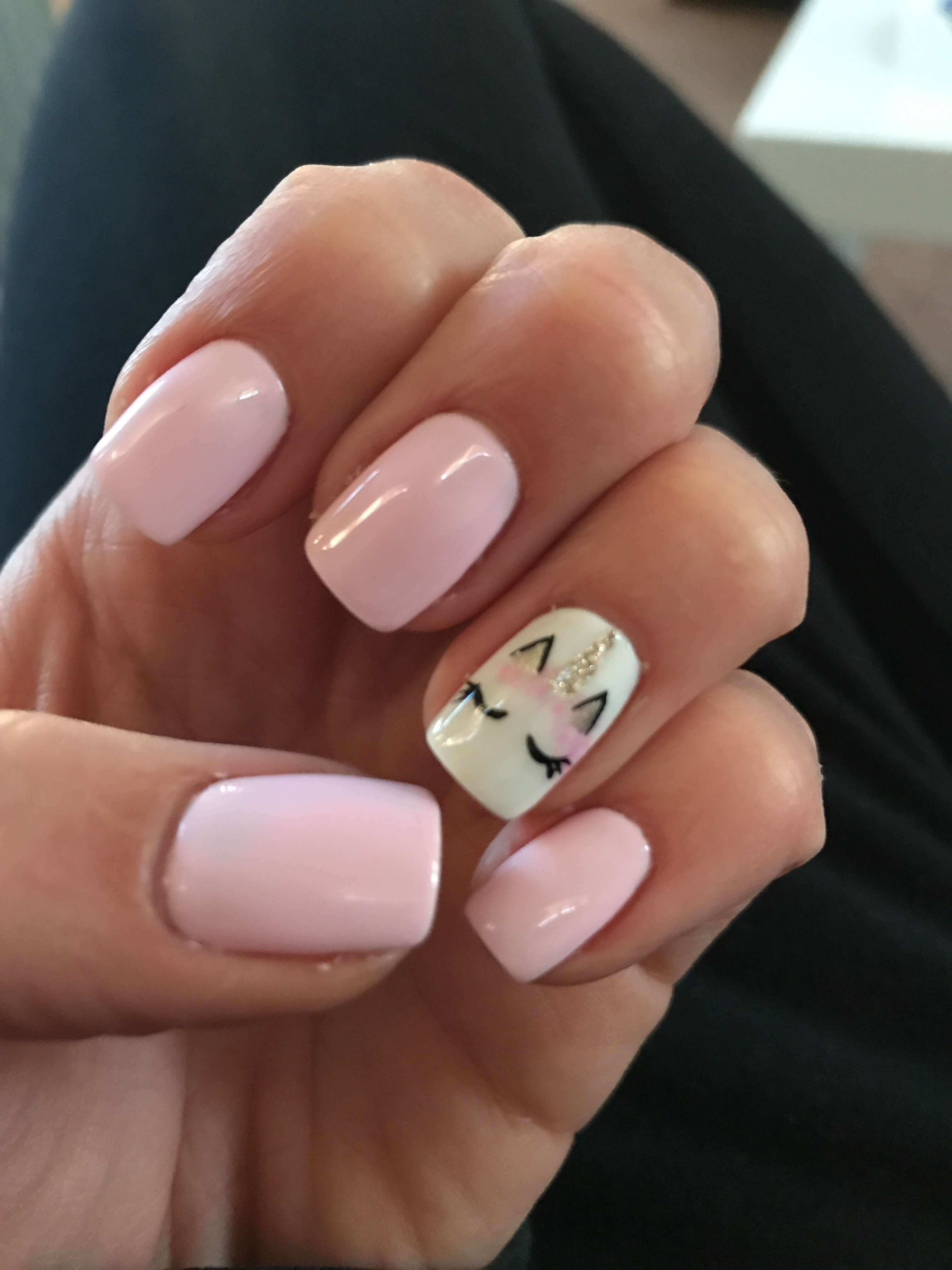 Baby Pink With Unicorn Accent Nail
