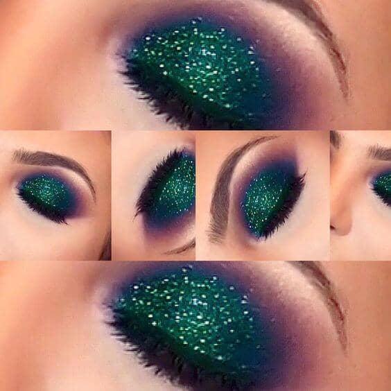 Green Glitter Peacock Eye Look