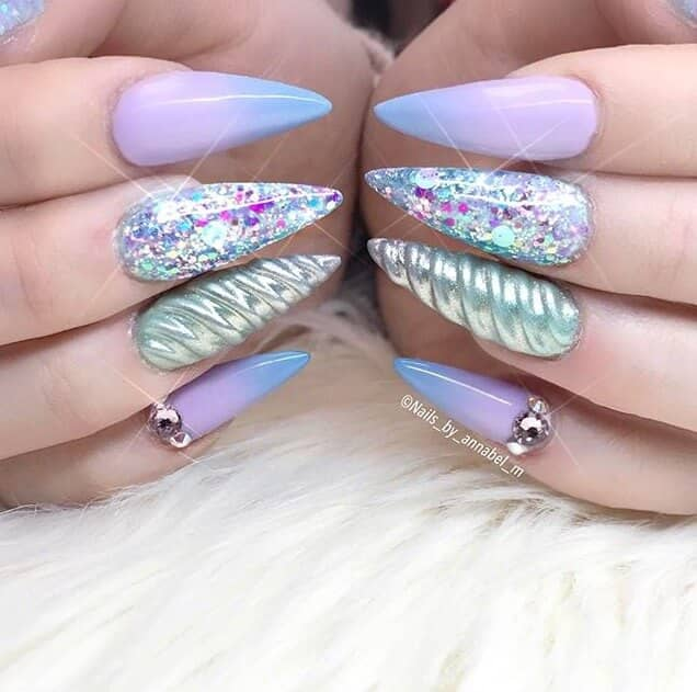 Blue/purple Design, Glitter, And Horn Swirl