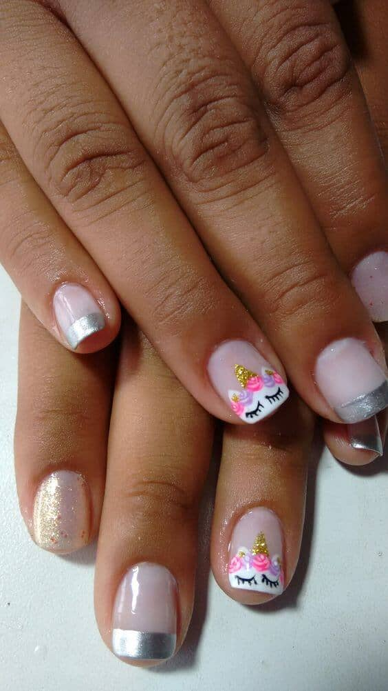 Silver-tipped French Manicure With Unicorn Art