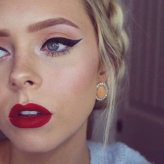 Thick Winged Liner and Red Lips