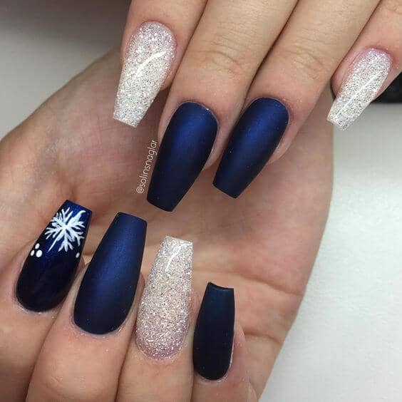 Matte Navy, White Glitter, And Snowflake Art