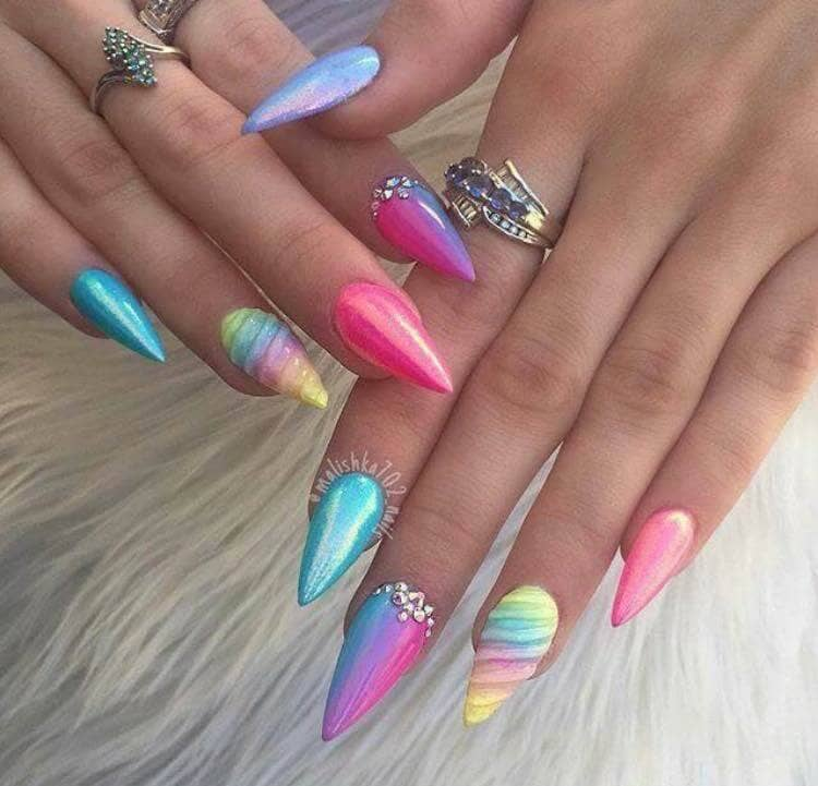 Multicolored Neon Rainbow Stiletto Nails