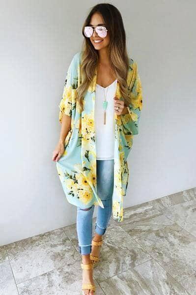 Delicate Satin Tropical Print Kimono ShirtJacket