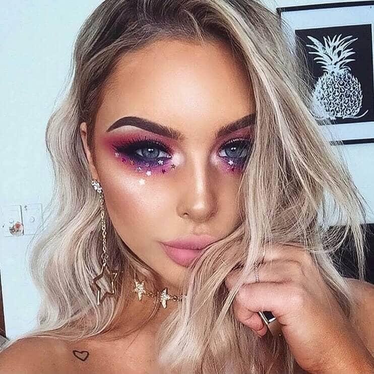 Smoky Iridescent Purple Eye With Stars