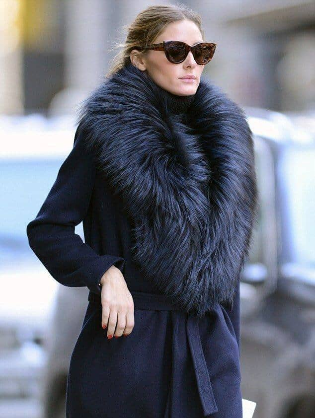 Wrap Coat With Black Faux Fur Collar