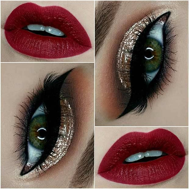 Gold Glitter Smoky Eye and Red Lips