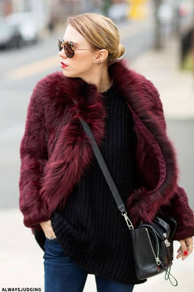 Wine Colored Cropped Faux Fur Jacket