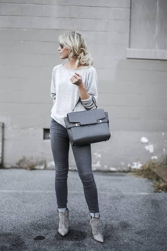 Grey Booties Complete The Look