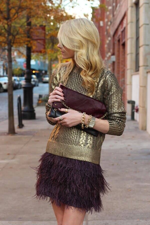 A Gold Sweater and Feathers