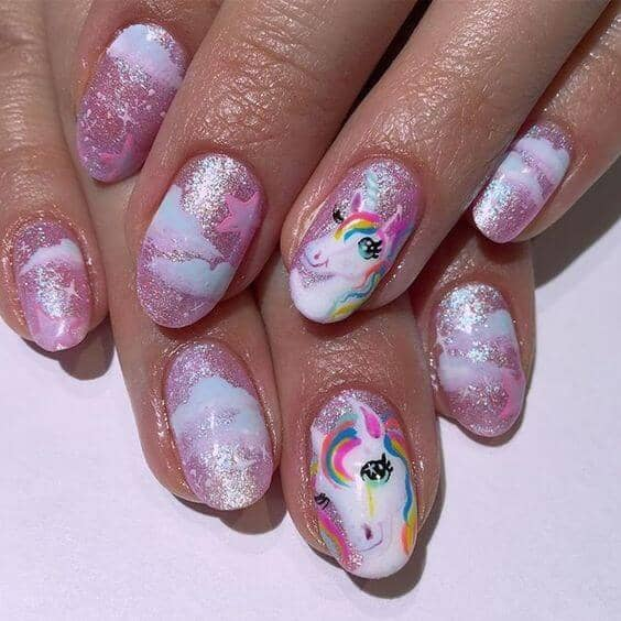 Pink Glitter With Unicorn Art
