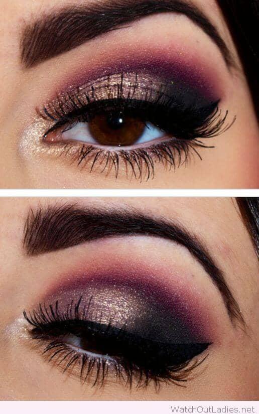 Deep Purple Glittery Smoky Eye