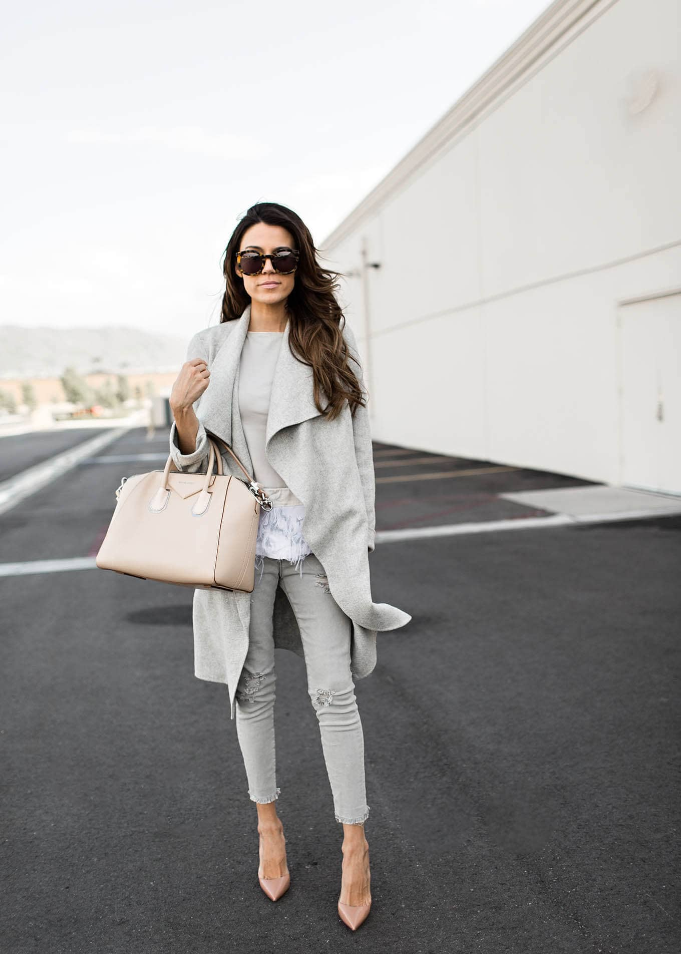 Match Grey Outfits With Nudes