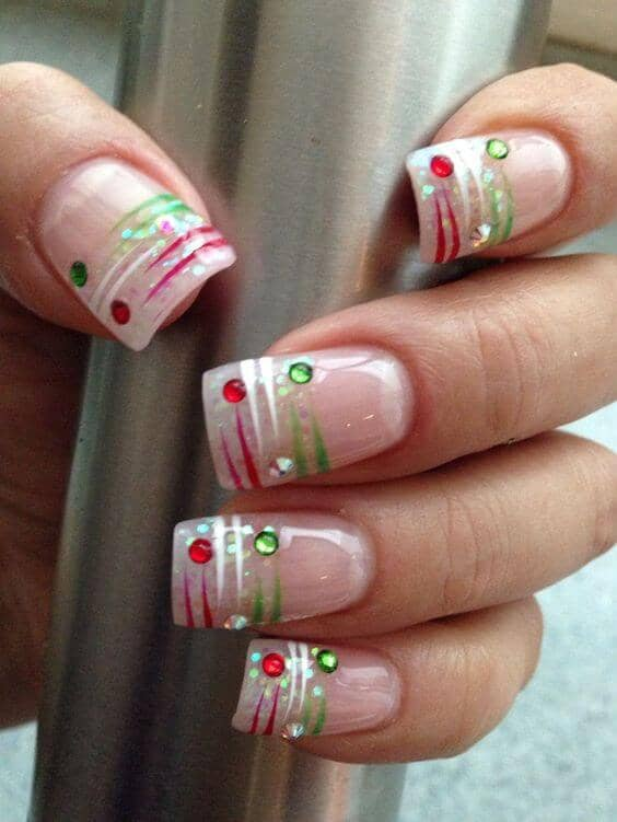 Translucent Pink With Green, White, And Red Accents