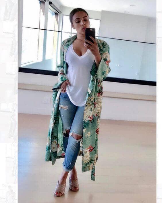 Distressed Denim Kimono Outfit