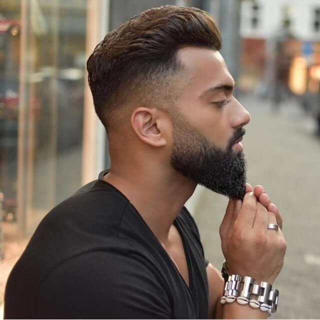 Tight Fade With Connected Beard, Slicked Back Top