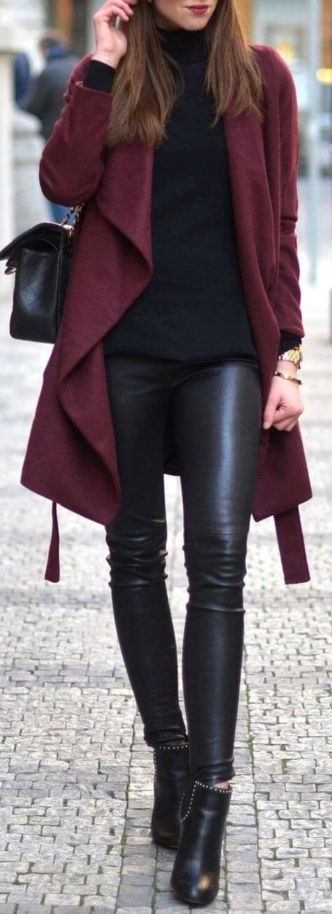 Soften Leather Leggings with a Wrap Coat