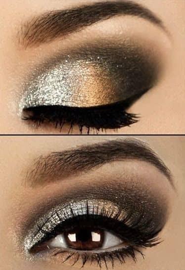 Silver Glitter Smoky Eye Look